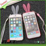 Het in het groot Leuke Geval van de Telefoon van de Cel van Kickstand TPU van het Oor van het Konijn voor iPhone 6/6s plus (rjt-0105)