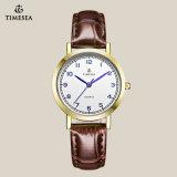 Relógio de pulso 70011 do amante dos pares do couro genuíno de qualidade superior