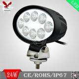 Luz 24W 4X4 redondo, linterna del trabajo del LED del LED para el jeep
