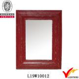 Grand miroir rectangulaire antique rugueux encadré en bois de mur