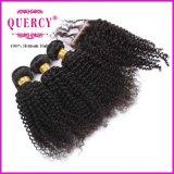 Prodotto per i capelli riccio crespo del Virgin di trasporto veloce, chiusura del merletto 1PCS con il gruppo dei capelli 3PCS, 4PCS/Lot, capelli brasiliani del Virgin dell'arricciatura crespa