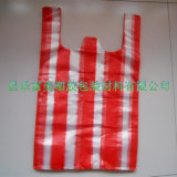 HDPE de Plastic Zak van de Streep met Witte en Rode Kleur