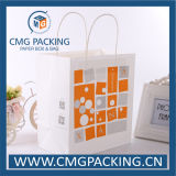Kraft branco Paper Bag com Paper Twist Handle (CMG-MAY-013)