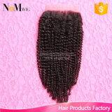Parte Curly Kinky do fechamento do Weave do cabelo de Remy do Afro do fechamento do laço