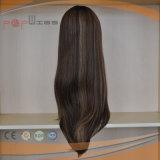 La mano del pelo humano ató la peluca llena incolora de la tapa de la piel del pelo de la Virgen del 100% Remy