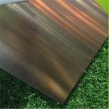 304 acero inoxidable placa decorativa Hoja rayita verde de bronce Chapado de color con el PVC 7c Cine