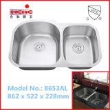 Double bassin de cuisine populaire d'acier inoxydable de cuvette, bassin de lavage, bassin de barre