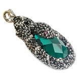 El colgante de piedra del collar de la manera, piedra de gema rebordea la venta al por mayor pendiente del collar de la joyería