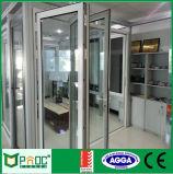 Portello di piegatura di alluminio della Bi di profilo di alluminio con doppio vetro Tempered