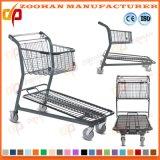 Doppelkorb-verzinkte Metallsupermarkt-Einkaufen-Laufkatze-Karre (Zht191)