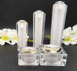 De gouden Vierkante Plastic AcrylFles/de Kruik van de Reeks voor de Kosmetische Reeks van de Verpakking (ppc-cps-023)