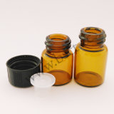 2ml botella de petróleo esencial de cristal ambarina de 5/8 COPITA con el reductor y el casquillo del orificio
