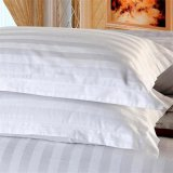 Caja/cubierta blancas de la almohadilla de la tira del satén del hotel para el lecho del hotel fijado (WSPC-2016008)