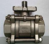Válvula de esfera do aço inoxidável 3PC com a almofada de montagem do ISO