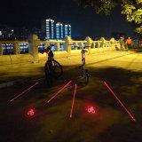 5 LED 2 Laser 자전거 빛 Laser 로고 지적인 안전 램프 3 색깔 후방 자전거 테일 빛
