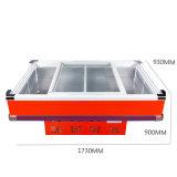 Congelador quente do marisco da porta de vidro de deslizamento da venda com luz do diodo emissor de luz
