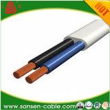 câble plat de VDE de câble d'alimentation enduit de PVC de 300V H03vvh2-F 2X0.5mm2