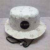 Шлем 100% ведра рыболова хлопка с шнурами и кожаный заплатой
