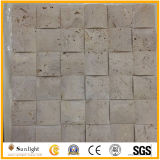 Mosaico bege/amarelo caído do Travertine para a decoração da parede do banheiro