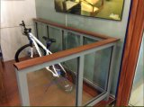 Escalera de aluminio de la barandilla o del vidrio y pasamano del vidrio