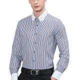 Vestido de la manera de la raya de camisas de algodón Camisas de encargo de los hombres