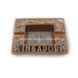 Cuir de Singapour et cendrier carrés à la mode en métal