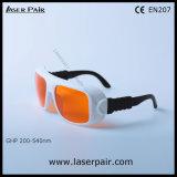 Marco ajustable de los anteojos protectores verdes /266nm 355nm 515nm, 532nm /V de las gafas de seguridad de laser/laser. L.T el 50% con el marco 36
