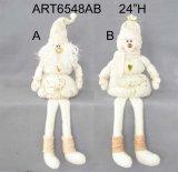 Presente equipado com pernas do Natal do boneco de neve de Santa da mola com mão luxuosa Embroidery-2asst.