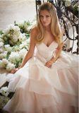 Тонкая Beaded мантия платья венчания кнопки Organza юбки Flounce lhbim планок