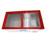 Congelador aberto da caixa da porta dobro da parte superior nova da temperatura do dobro do projeto