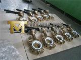 Válvula de mariposa de la oblea del bronce de aluminio con la maneta