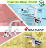 Taraud d'eau de bassin de salle de bains d'acier inoxydable avec l'homologation de filigrane