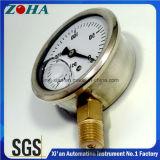 Petróleo - calibre de vácuo enchido com a caixa de aço inoxidável e o conetor do bronze