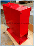 Het poeder bedekte de Rode Container van de Bijlage van het Staal van de Dekking met een laag
