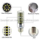 A luz E27 10W do milho do diodo emissor de luz refrigera a lâmpada de prata branca do bulbo do diodo emissor de luz do corpo da cor