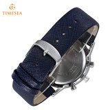 人の青い革水晶アナログの腕時計72501