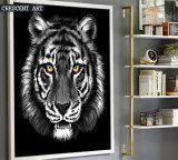 Het zwart-witte Af:drukken van de Kunst van het Canvas van het Portret van de Tijger van het Wild