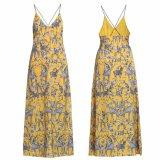 Form-Frauen reizvolle dünne V-Stutzen Seite aufgeschlitztes Chiffon- gedrucktes Beleg-Partei-Kleid