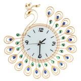 Reloj de pared grande del metal de la talla del reloj de pared del pavo real
