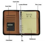 Cuero de la PU de negocios multi-función Zip-A5 Alrededor Notebook, con espiral Ruled Diario de recibos carpeta de la tarjeta Dinero