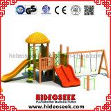 Equipo de madera del patio de los niños del estilo con el oscilación y la diapositiva