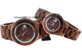 Madera de madera hecha a mano del reloj de los pares para la función de la fecha del movimiento de Japón de los amantes