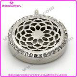 De ronde Halsband van het Medaillon van het Parfum van de Verspreider van de Essentiële Oliën van Aromatherapy van de Halsband van de Tegenhanger van het Roestvrij staal