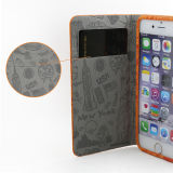 Grey FabricのiPhone 6 PU Leatherのための多彩なSublimation Leather Phone Case