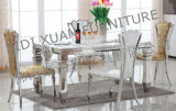 Tabella pranzante di rettangolo superiore di marmo della Tabella pranzante con la mobilia della casa del blocco per grafici dell'acciaio inossidabile