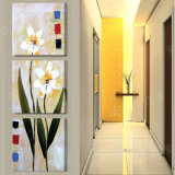 La pittura di parete moderna di vendita calda delle 3 parti fiorisce la maschera di arte della parete della decorazione della stanza della pittura verniciata sulla decorazione Mc-219 della casa della tela di canapa
