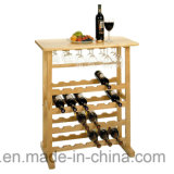 Cremagliera di legno del vino del pavimento 24-Bottle di principi fondamentali con la cremagliera di vetro di vino