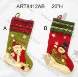 編まれた袖口、3asstが付いているクリスマスの装飾のサンタのスノーマンのストッキング