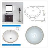 Dissipador redondo da porcelana de Undermount do banheiro da certificação de Cupc (SN035)