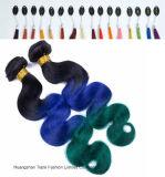 Pelo humano Weft del verde azul del 1b del color del pelo de Ombre 3tone
